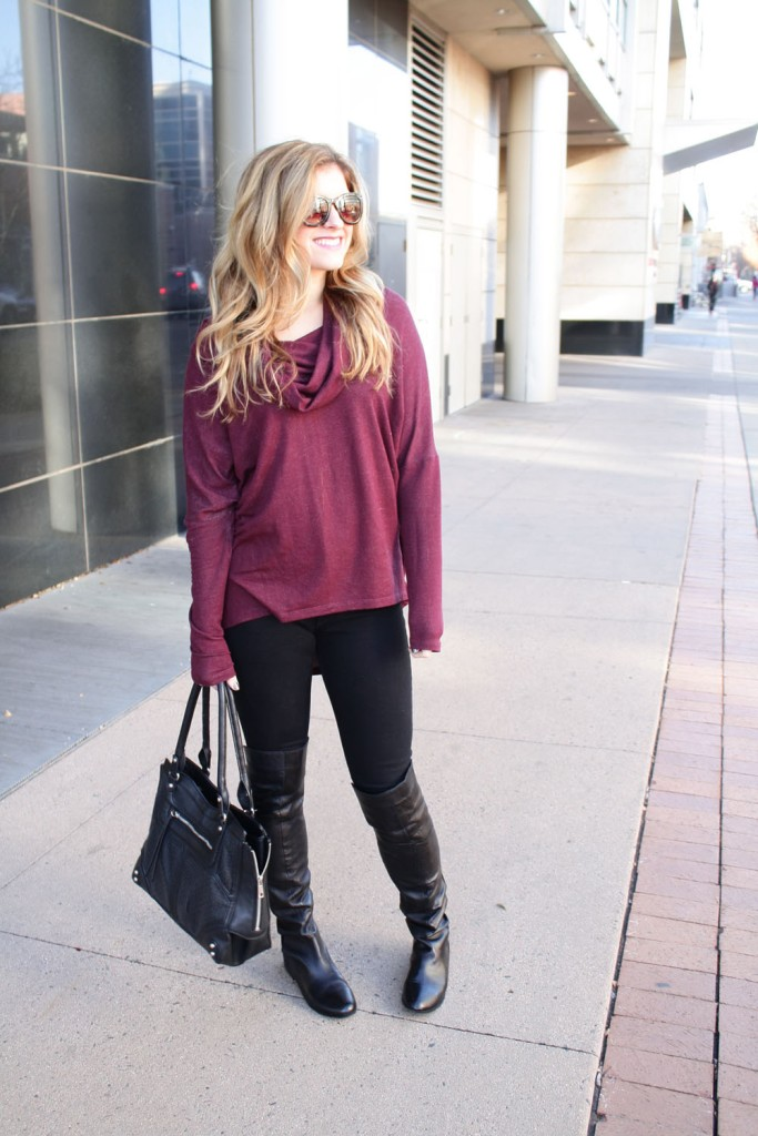 Burgundy Sweater, Black Jeans, Over the Knee boots // My Boring Closet