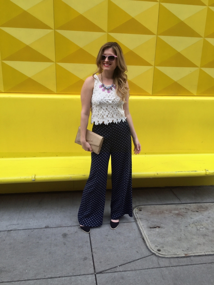 Lace Crop Top and Wide Leg Pants // My Boring Closet