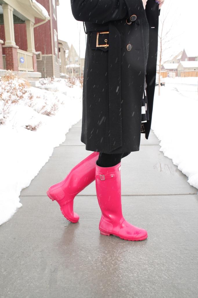 Winter Layers and Pink Hunter Boots // My Boring Closet