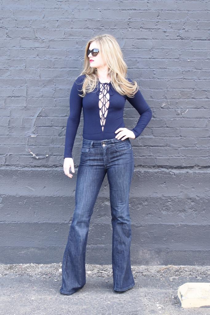 Reformation Avalon Bodysuit, lace up bodysuit, deep v, wide leg jeans // My Boring Closet