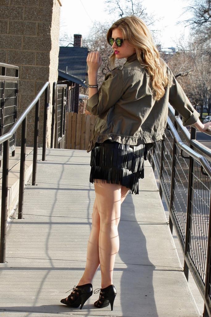 Grey bodysuit, faux leather fringe mini skirt, cage heels // My Boring Closet