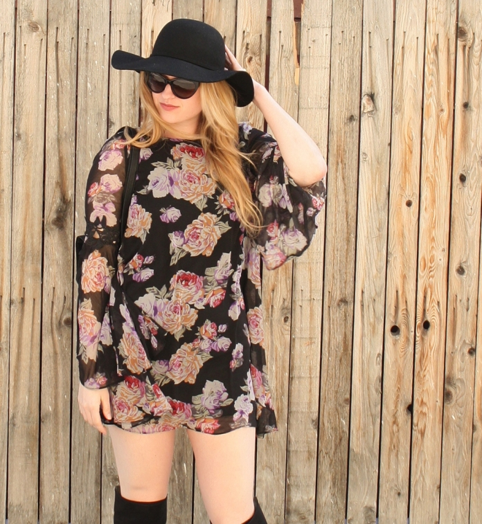 Floral Mod Dress, Over the Knee Boots // My Boring Closet