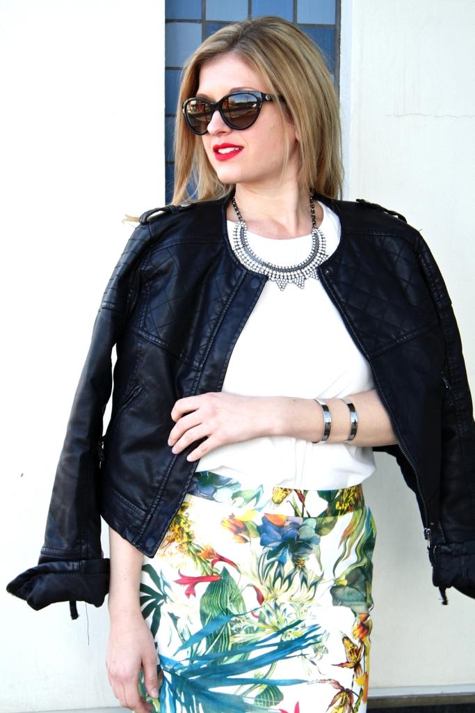 Floral Printed Leather Mini Skirt // My Boring Closet