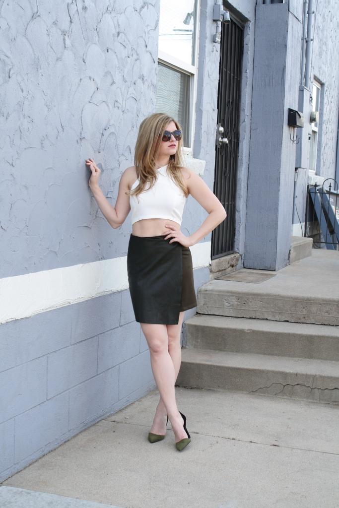 Crop Top & Leather Wrap Mini Skirt // My Boring Closet